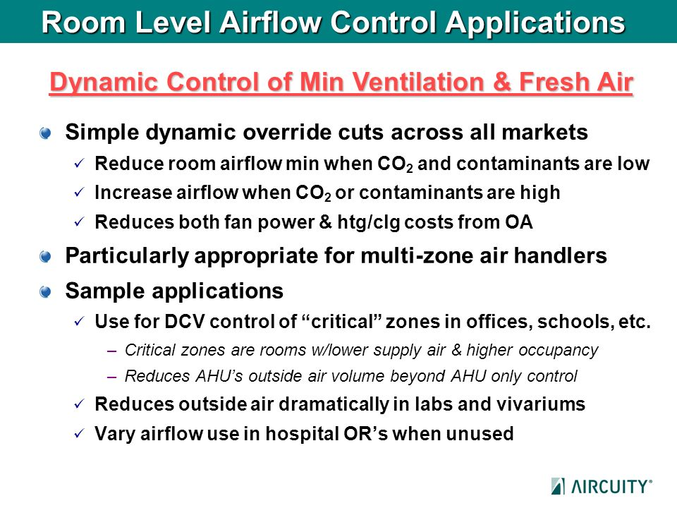 Room Level Airflow Control Applications