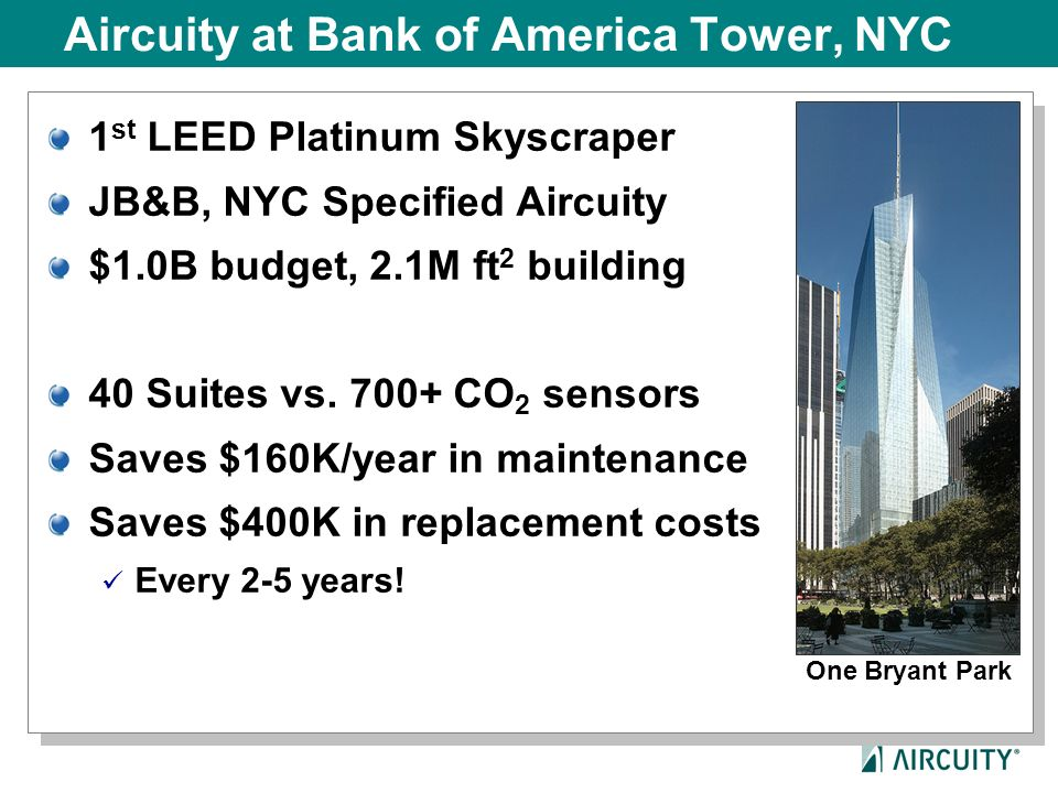 Aircuity at Bank of America Tower, NYC