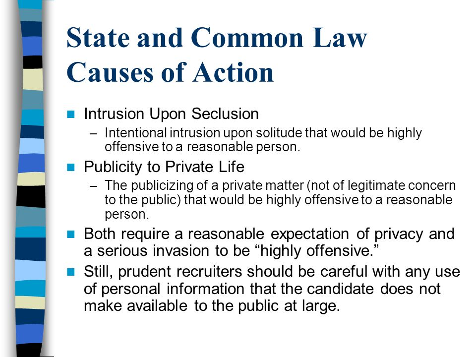 State and Common Law Causes of Action