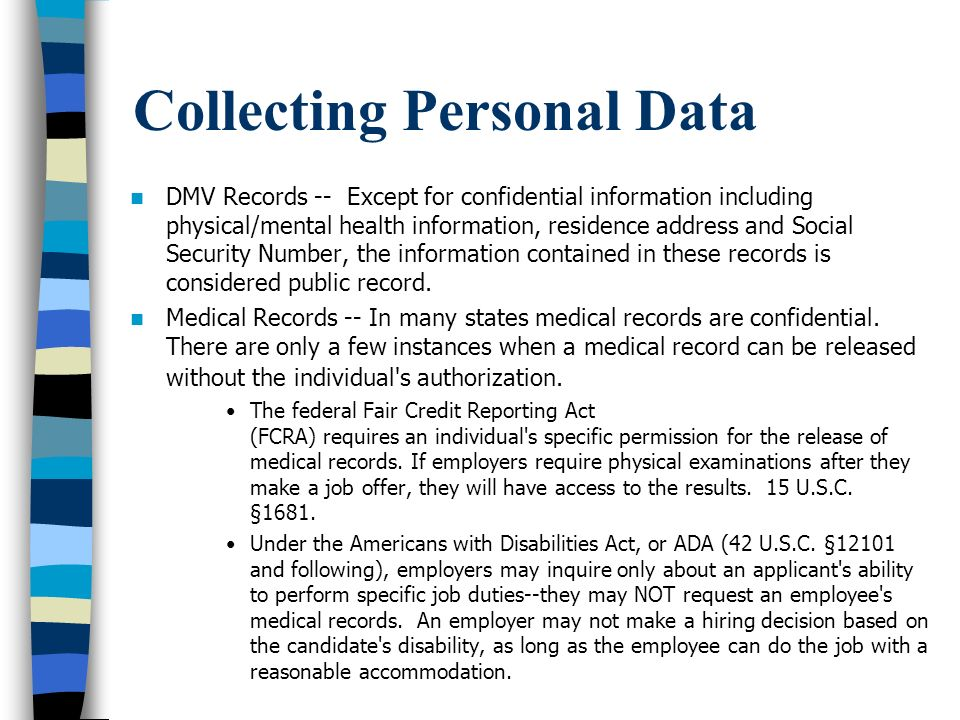 Collecting Personal Data