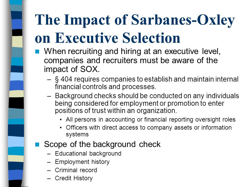 The Impact of Sarbanes-Oxley on Executive Selection