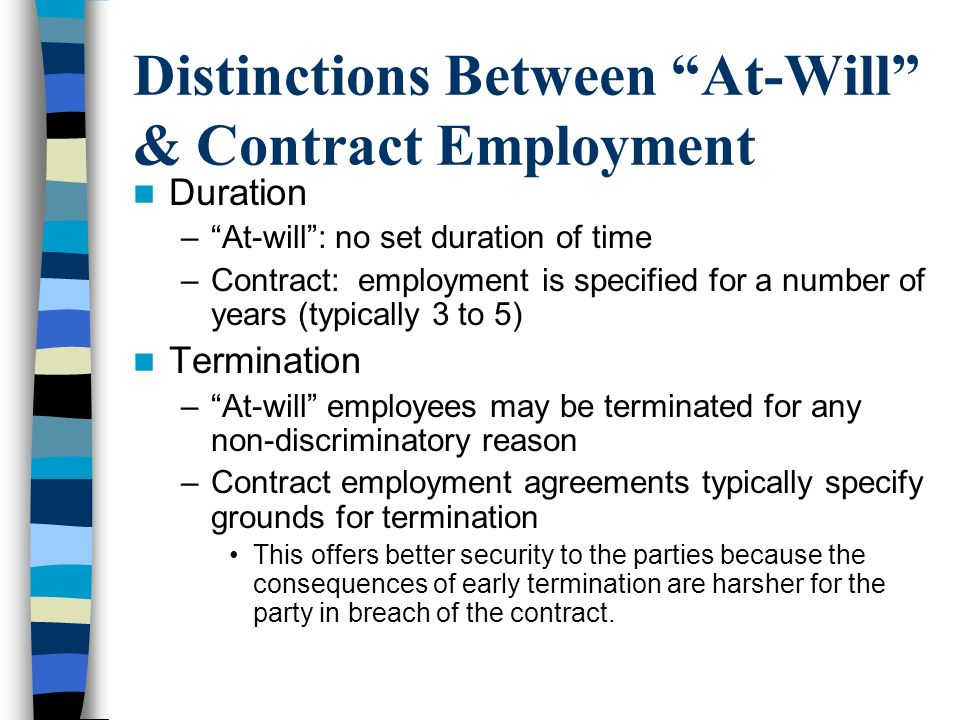 Distinctions Between At-Will & Contract Employment
