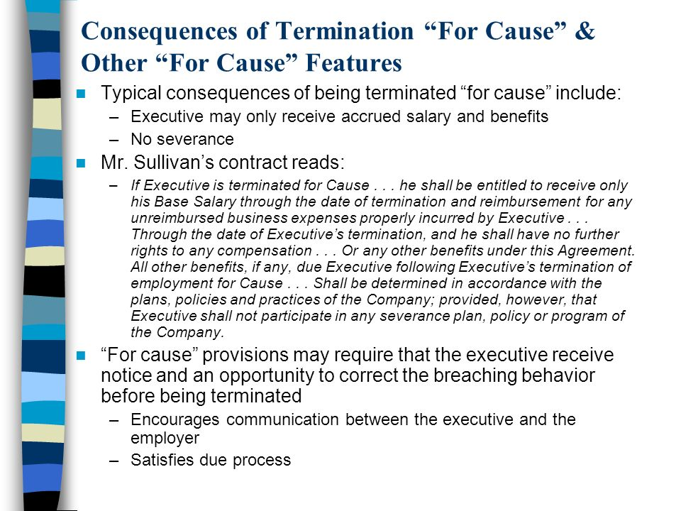 Consequences of Termination For Cause & Other For Cause Features