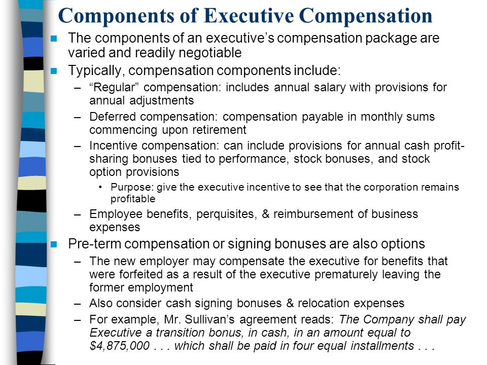 Components of Executive Compensation