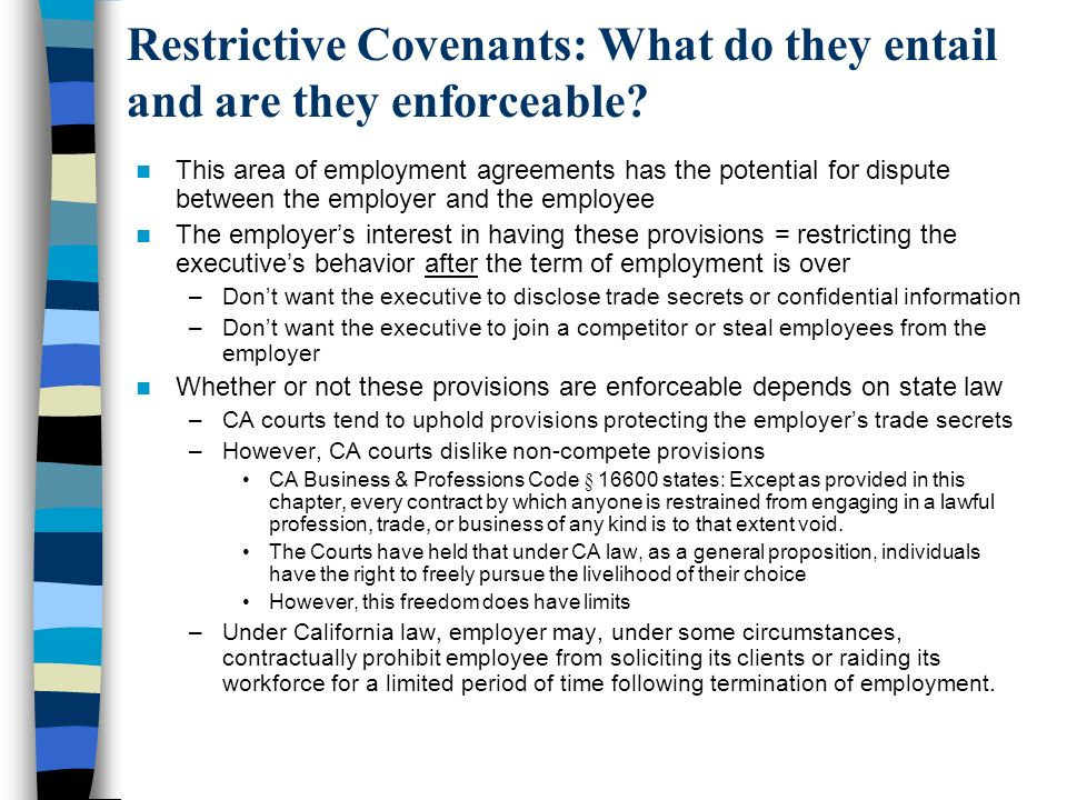 Restrictive Covenants: What do they entail and are they enforceable