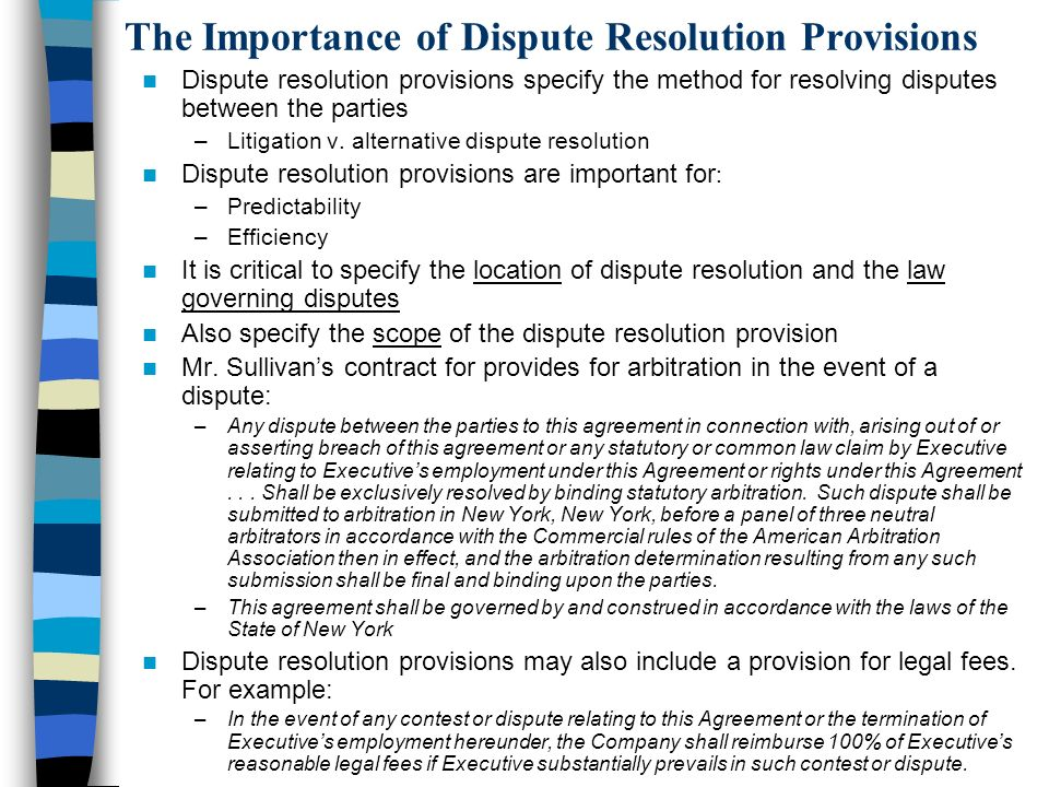 The Importance of Dispute Resolution Provisions