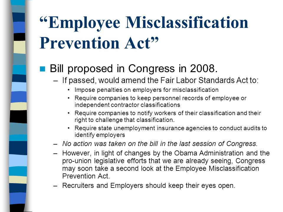Employee Misclassification Prevention Act