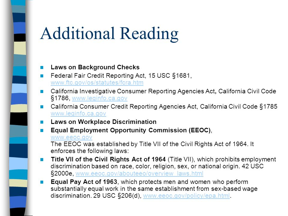 Additional Reading Laws on Background Checks