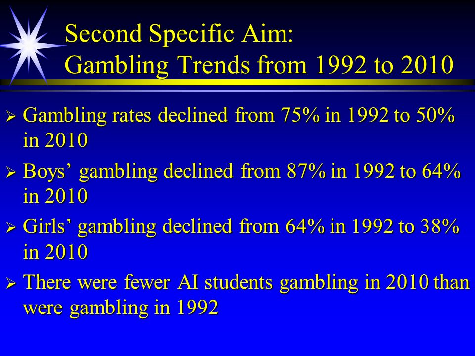 Second Specific Aim: Gambling Trends from 1992 to 2010