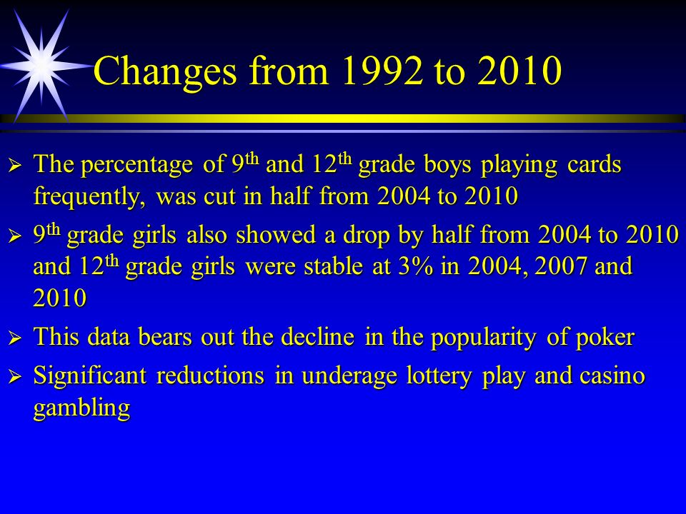 Changes from 1992 to 2010 The percentage of 9th and 12th grade boys playing cards frequently, was cut in half from 2004 to 2010.