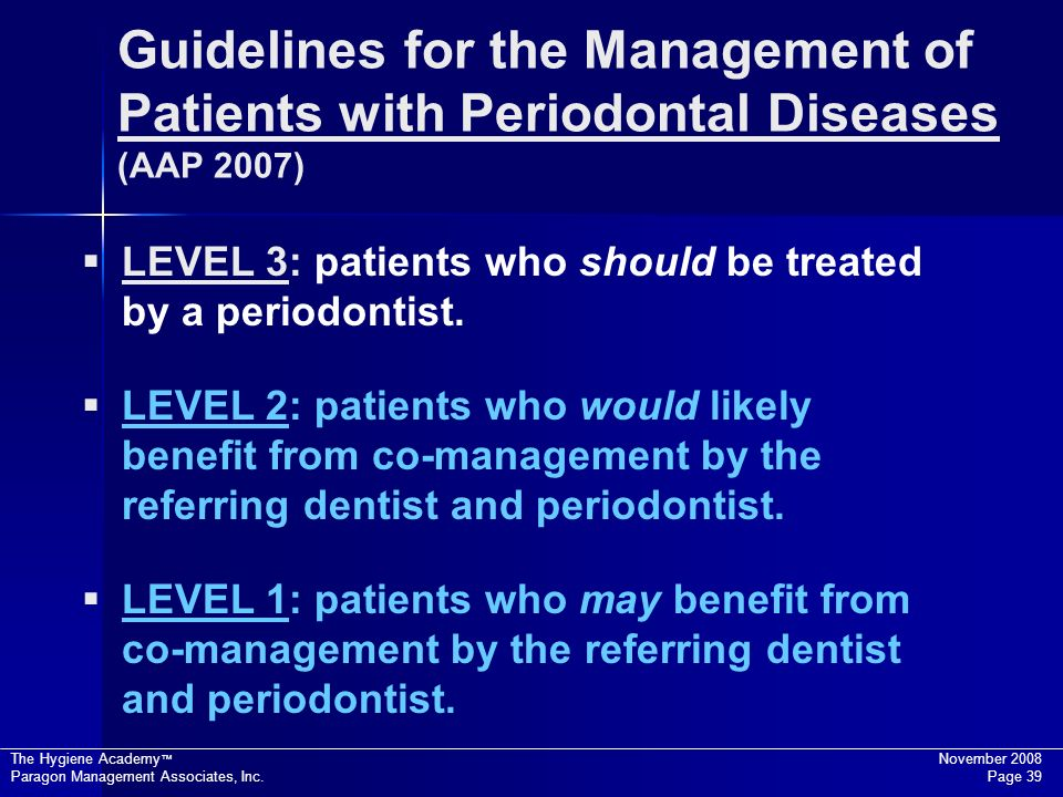 Guidelines for the Management of Patients with Periodontal Diseases (AAP 2007)
