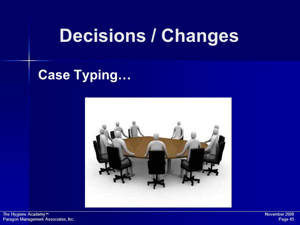 Decisions / Changes Case Typing…