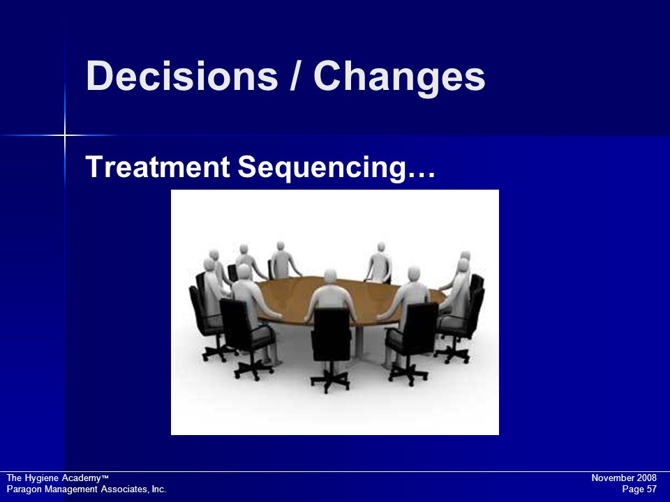 Decisions / Changes Treatment Sequencing…