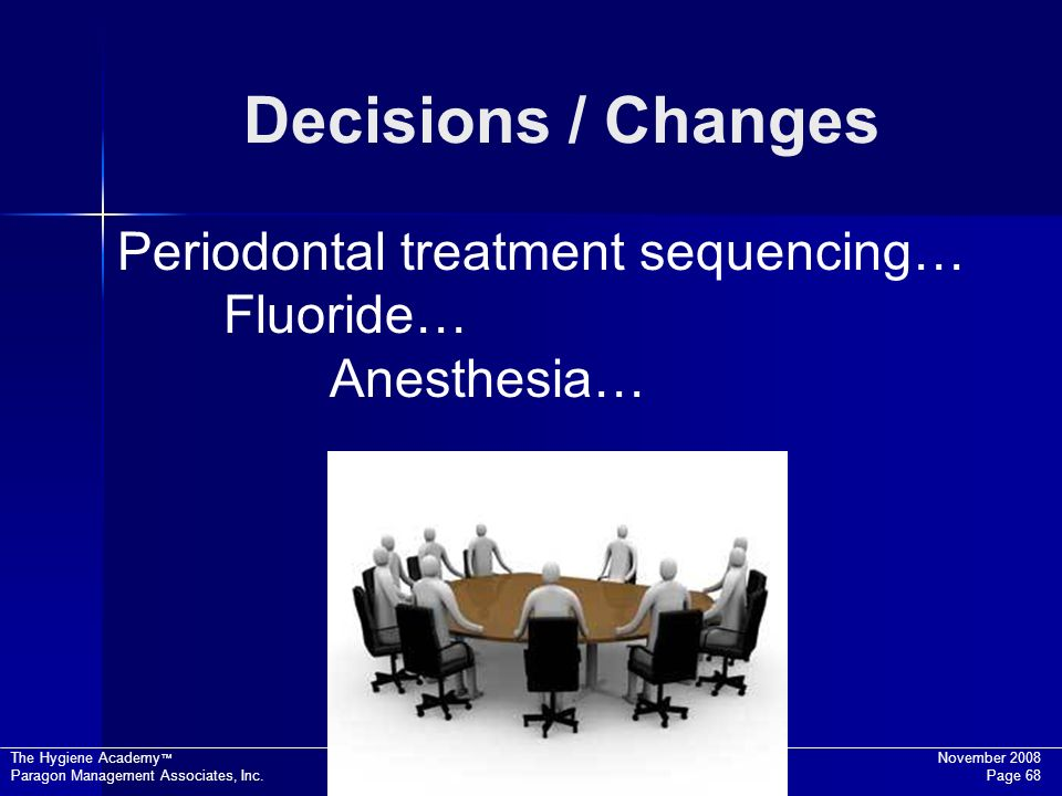 Decisions / Changes Periodontal treatment sequencing… Fluoride…
