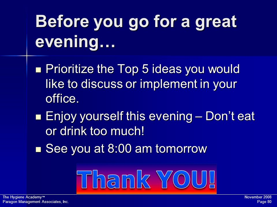 Before you go for a great evening…