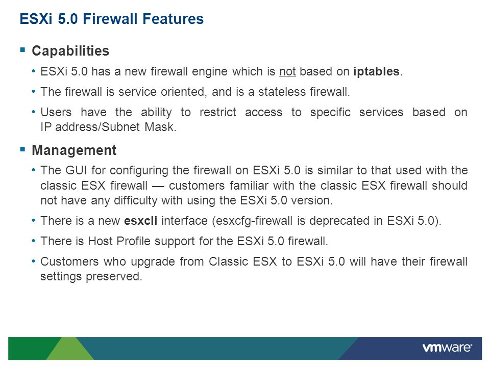 ESXi 5.0 Firewall Features