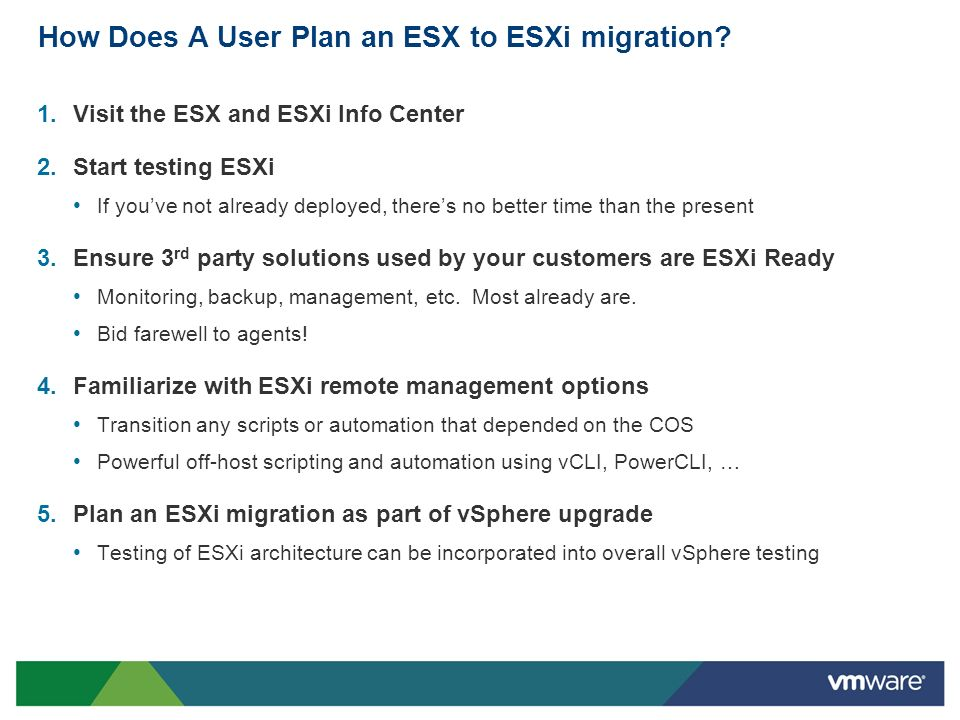 How Does A User Plan an ESX to ESXi migration