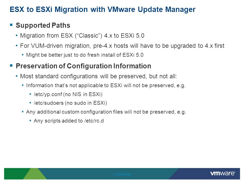 ESX to ESXi Migration with VMware Update Manager