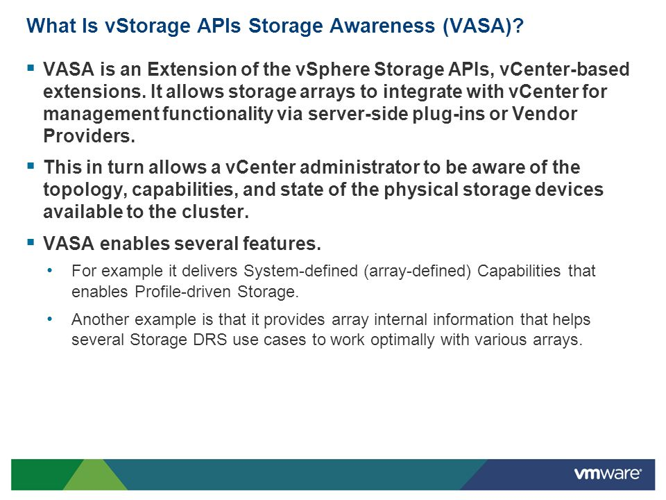 What Is vStorage APIs Storage Awareness (VASA)