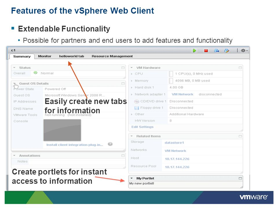 Features of the vSphere Web Client