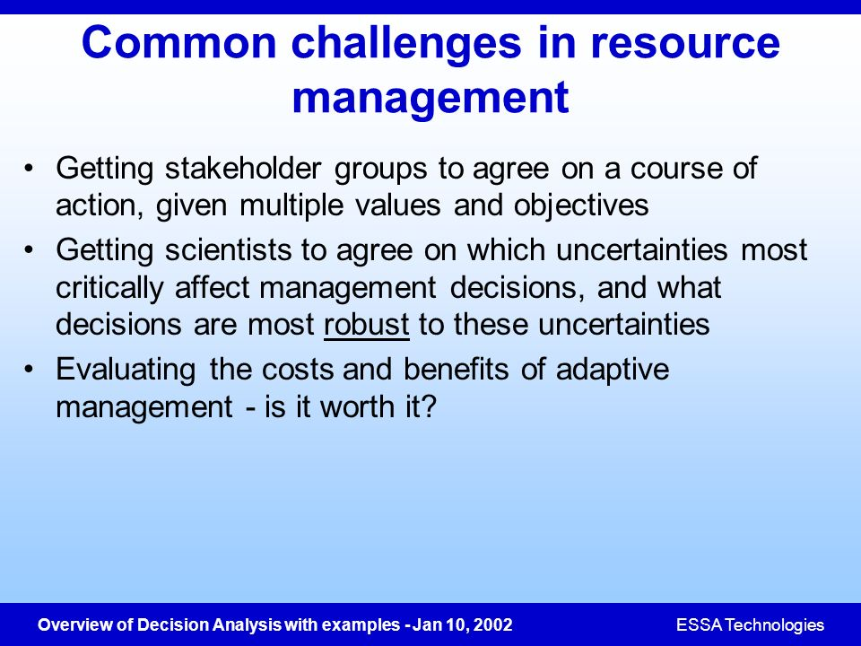 Common challenges in resource management