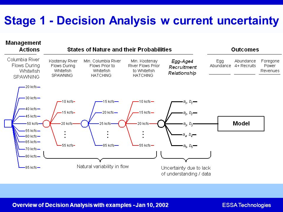 Stage 1 - Decision Analysis w current uncertainty