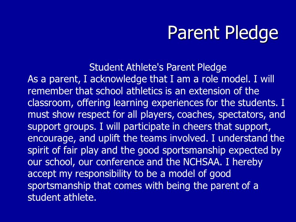Student Athlete s Parent Pledge