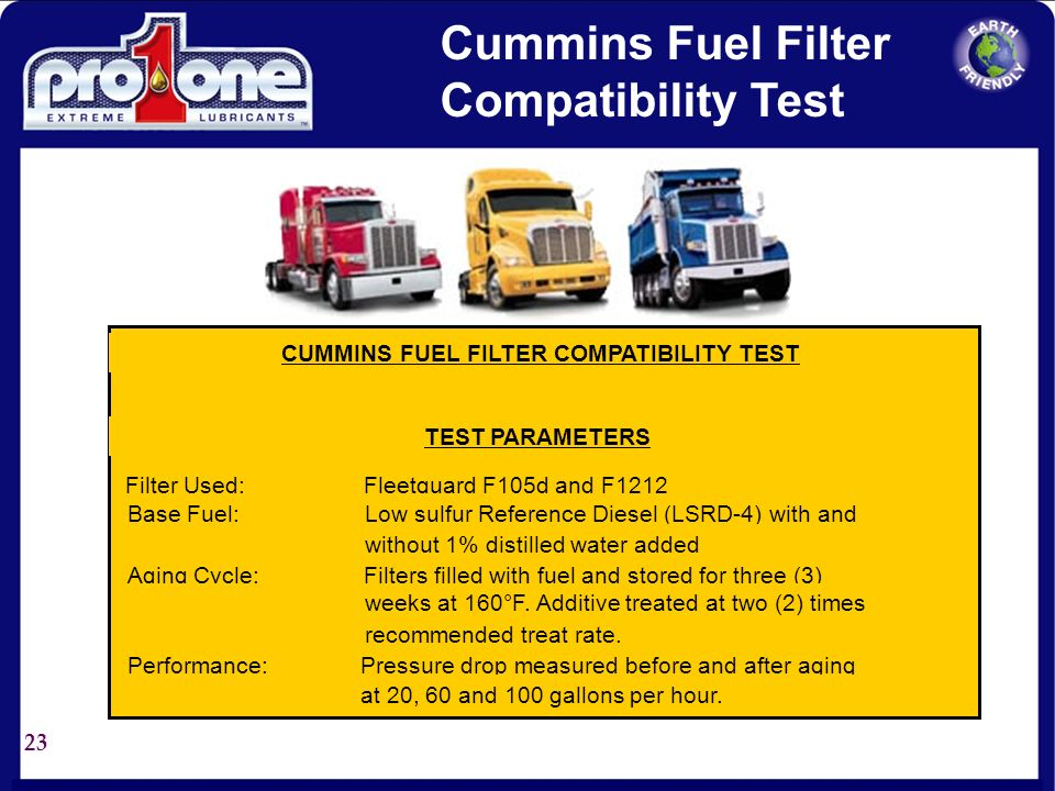 CUMMINS FUEL FILTER COMPATIBILITY TEST