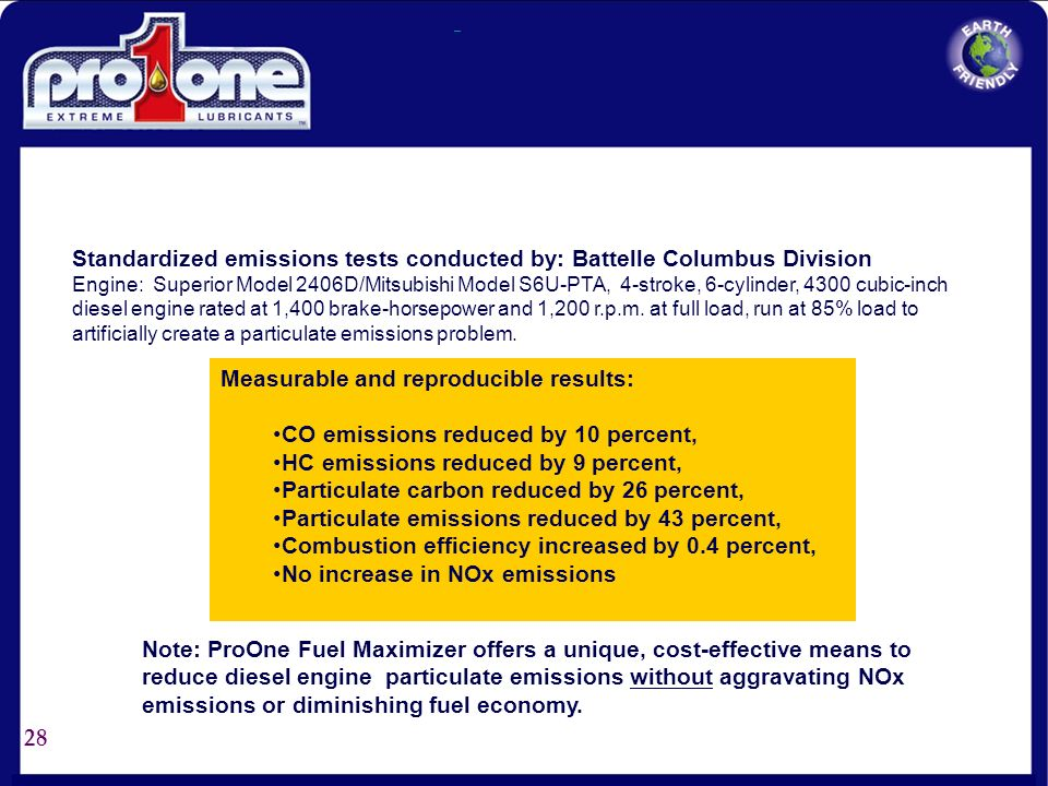 Standardized emissions tests conducted by: Battelle Columbus Division