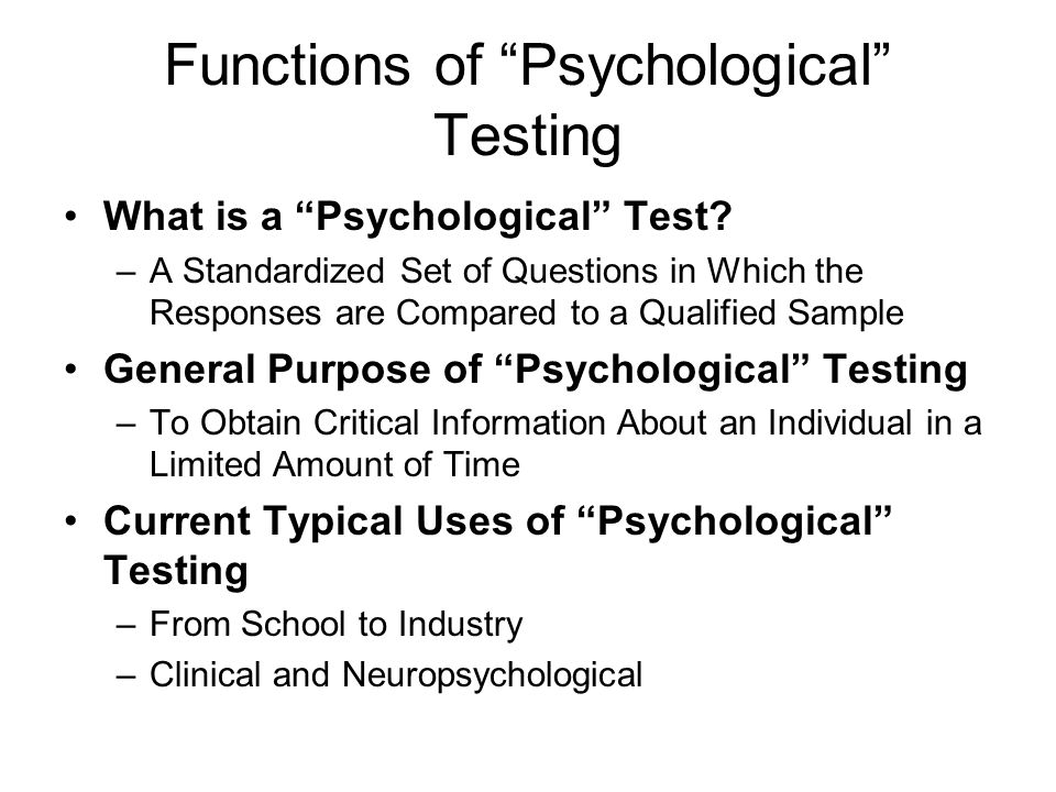 Functions of Psychological Testing