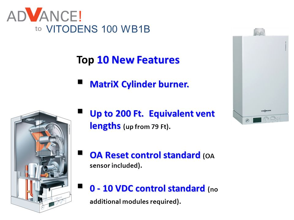 Top 10 New Features VITODENS 100 WB1B MatriX Cylinder burner.