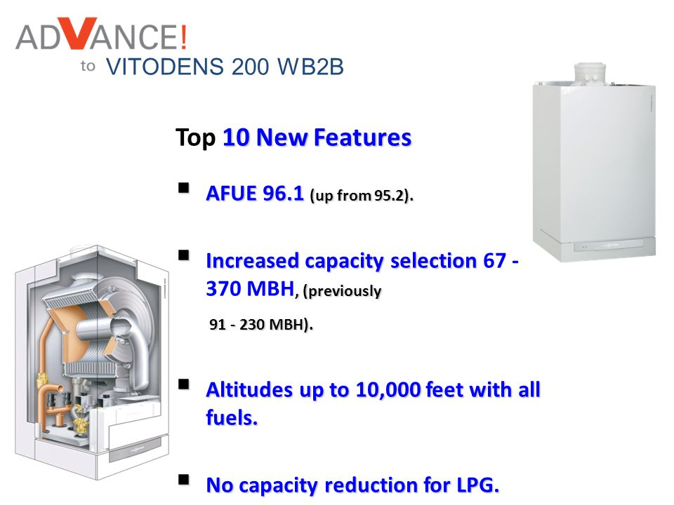 Top 10 New Features VITODENS 200 WB2B AFUE 96.1 (up from 95.2).
