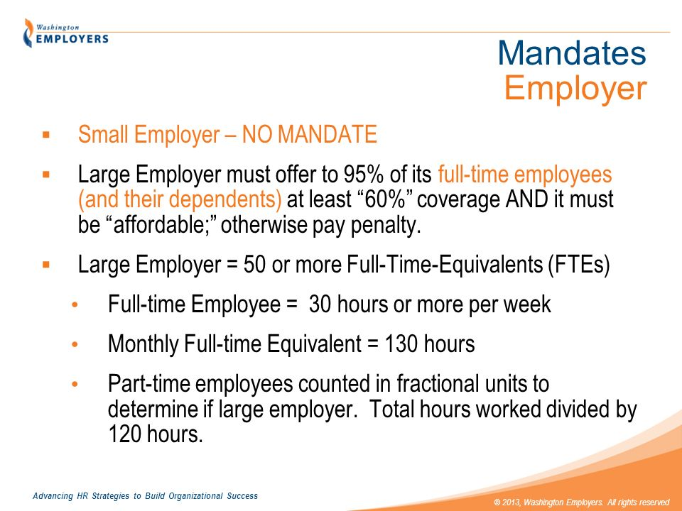 Mandates Employer Small Employer – NO MANDATE