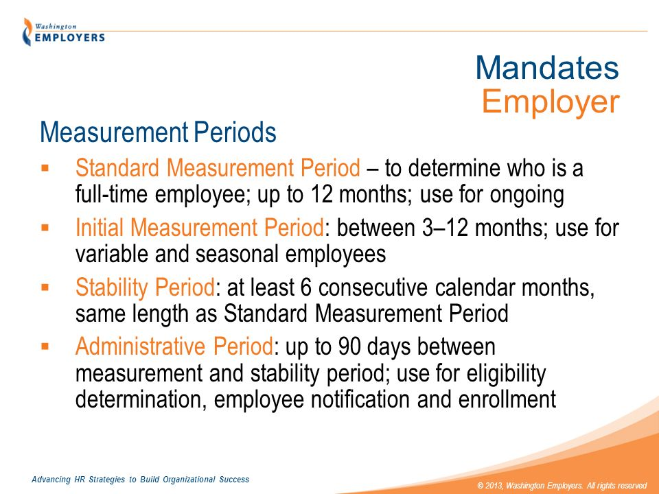 Mandates Employer Measurement Periods