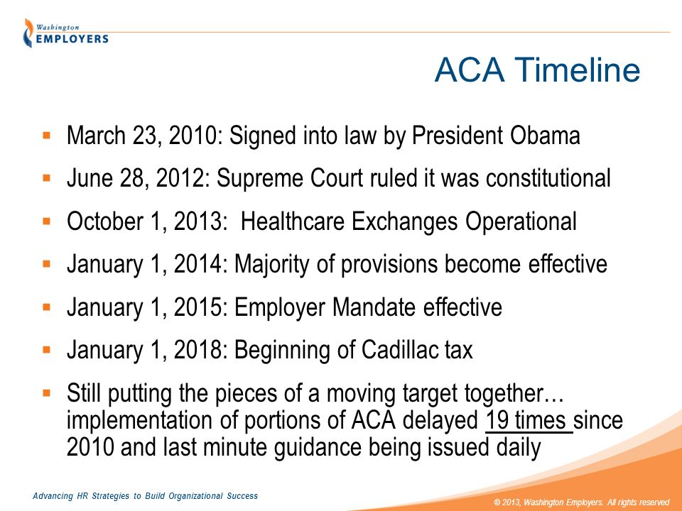 ACA Timeline March 23, 2010: Signed into law by President Obama