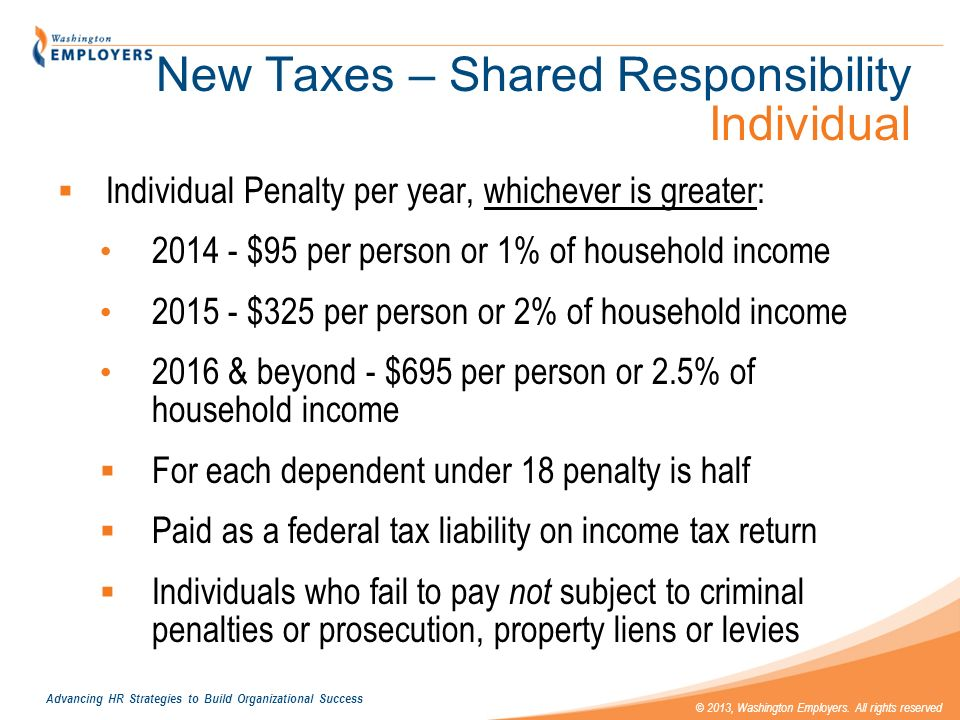 New Taxes – Shared Responsibility Individual