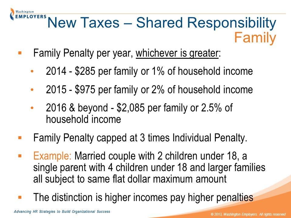 New Taxes – Shared Responsibility Family