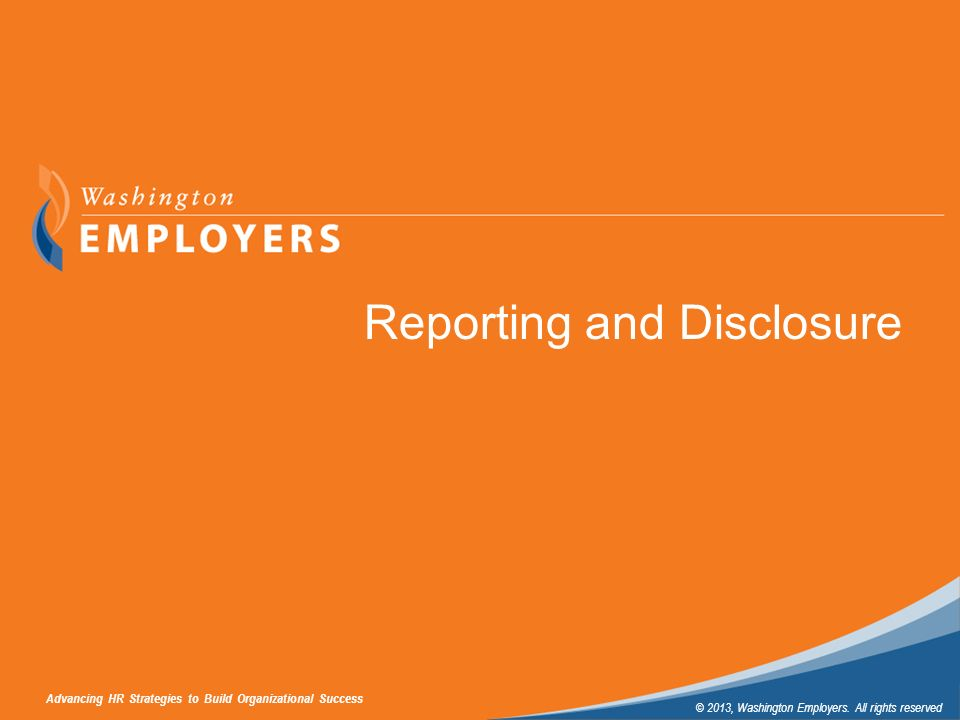 Reporting and Disclosure