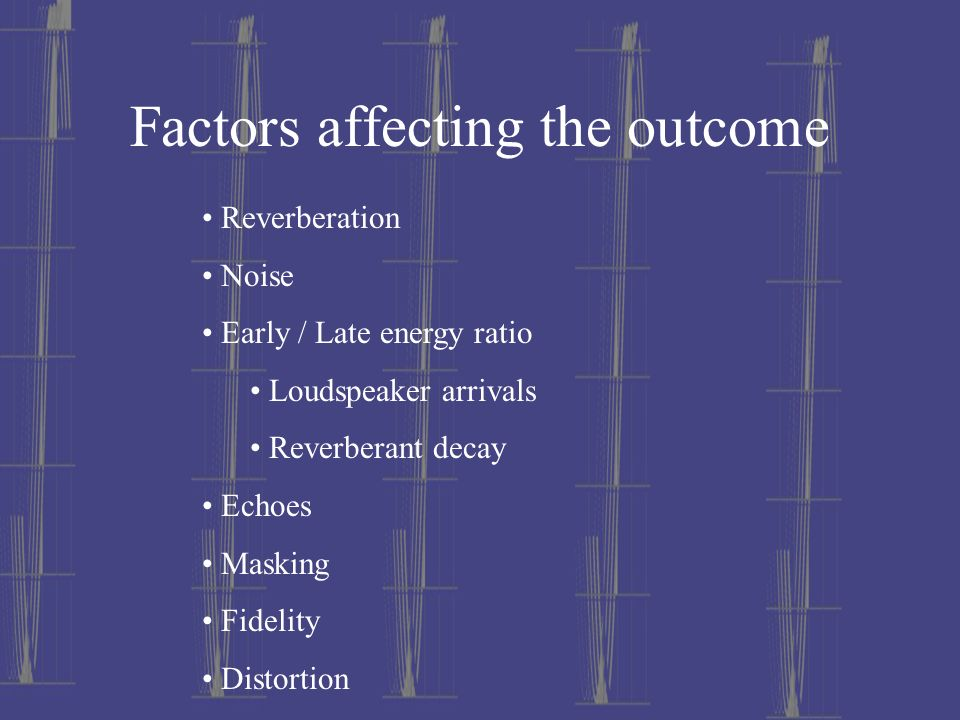 Factors affecting the outcome