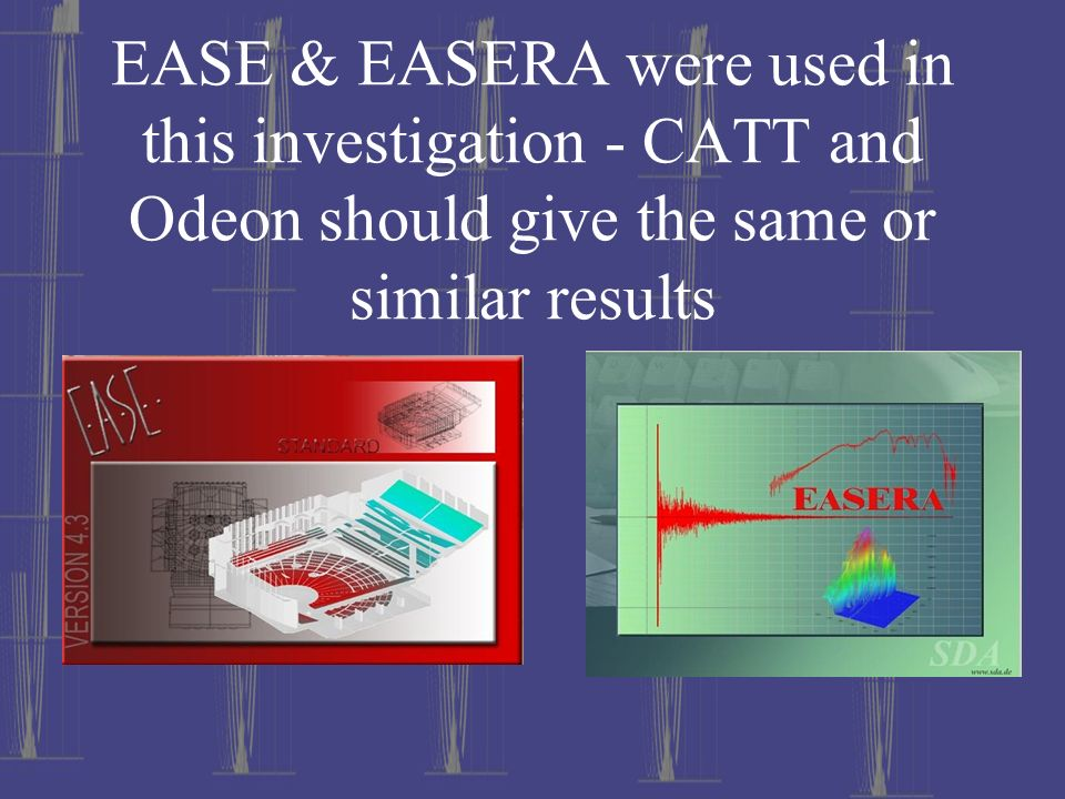 EASE & EASERA were used in this investigation - CATT and Odeon should give the same or similar results
