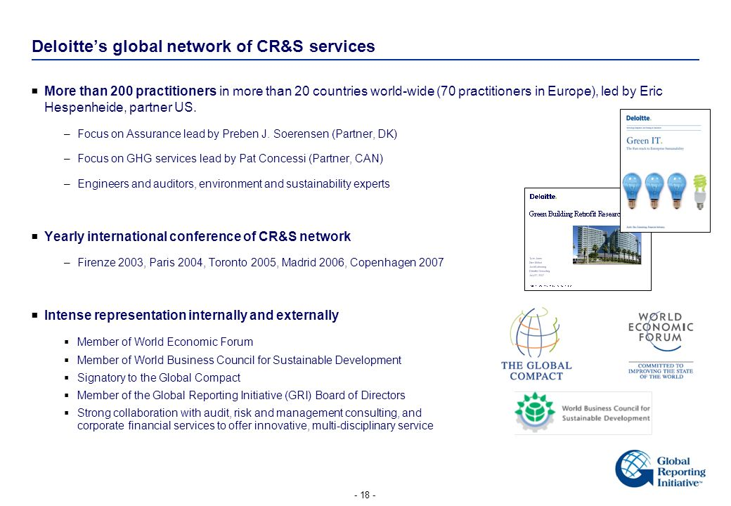 Deloitte's global network of CR&S services