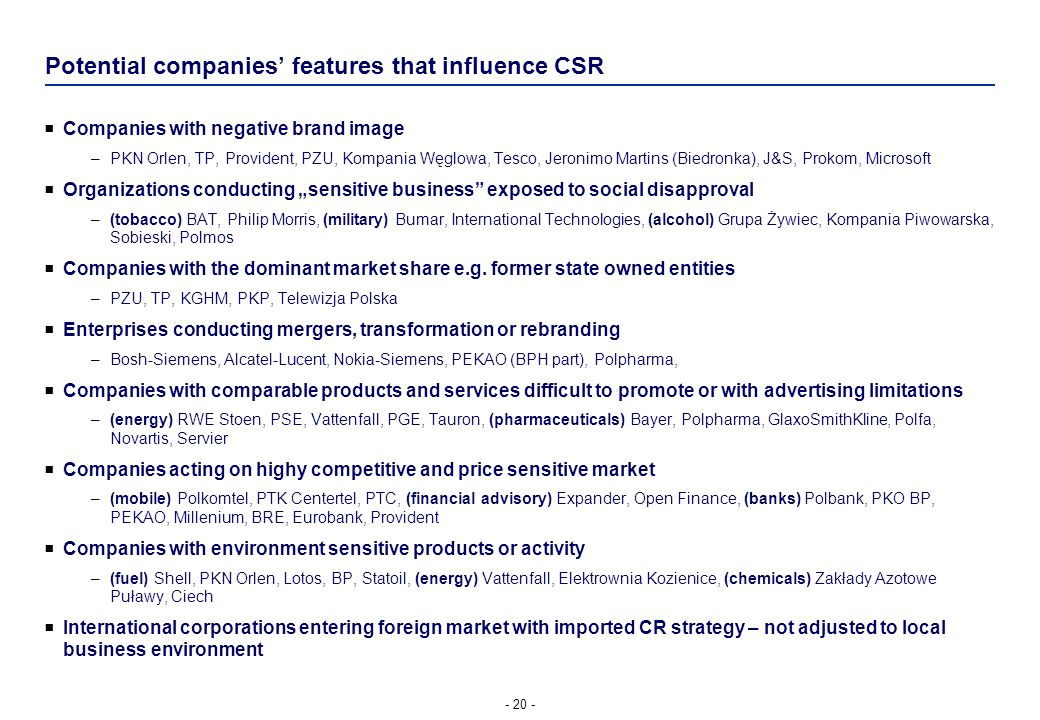Potential companies' features that influence CSR