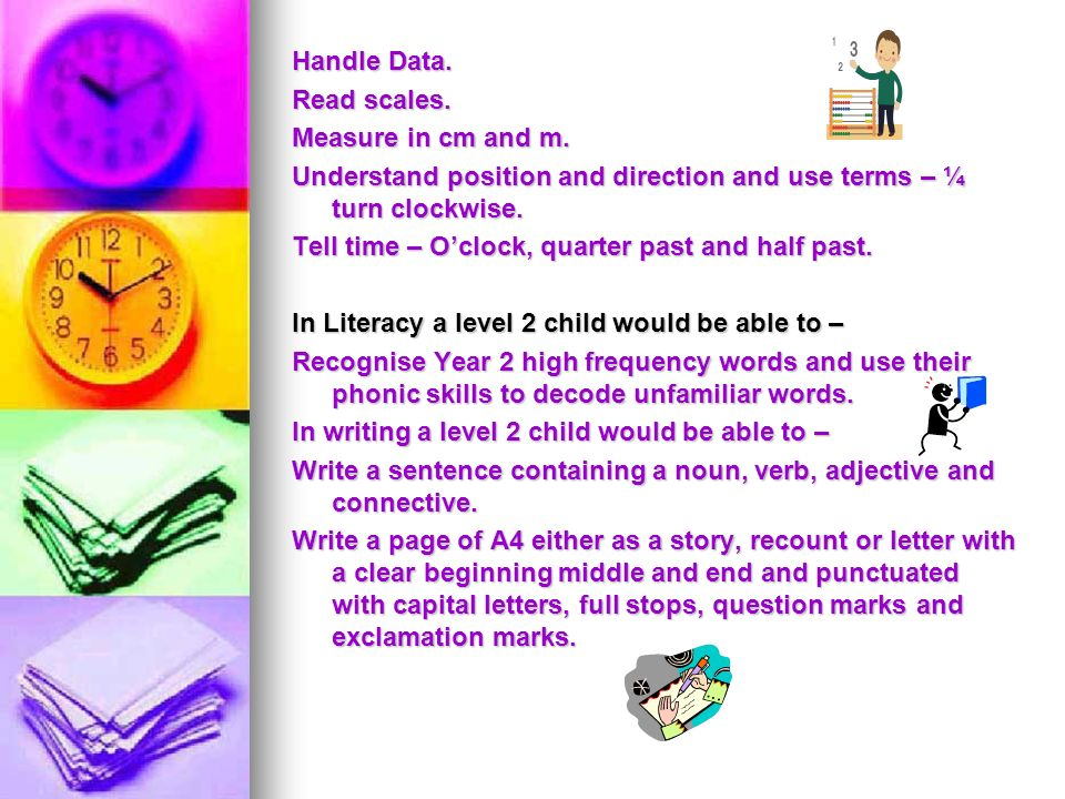 Handle Data. Read scales. Measure in cm and m. Understand position and direction and use terms – ¼ turn clockwise.