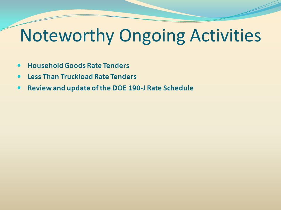 Noteworthy Ongoing Activities