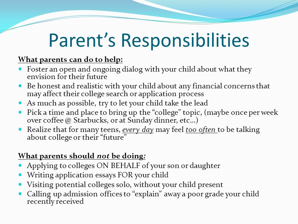Parent's Responsibilities