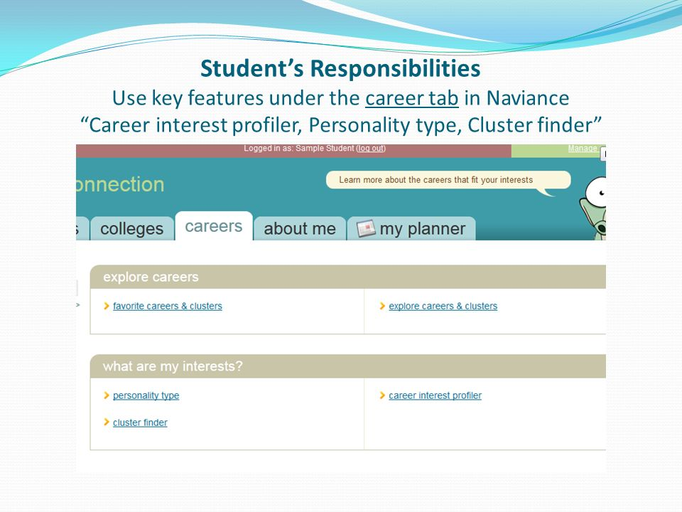 Student's Responsibilities Use key features under the career tab in Naviance Career interest profiler, Personality type, Cluster finder