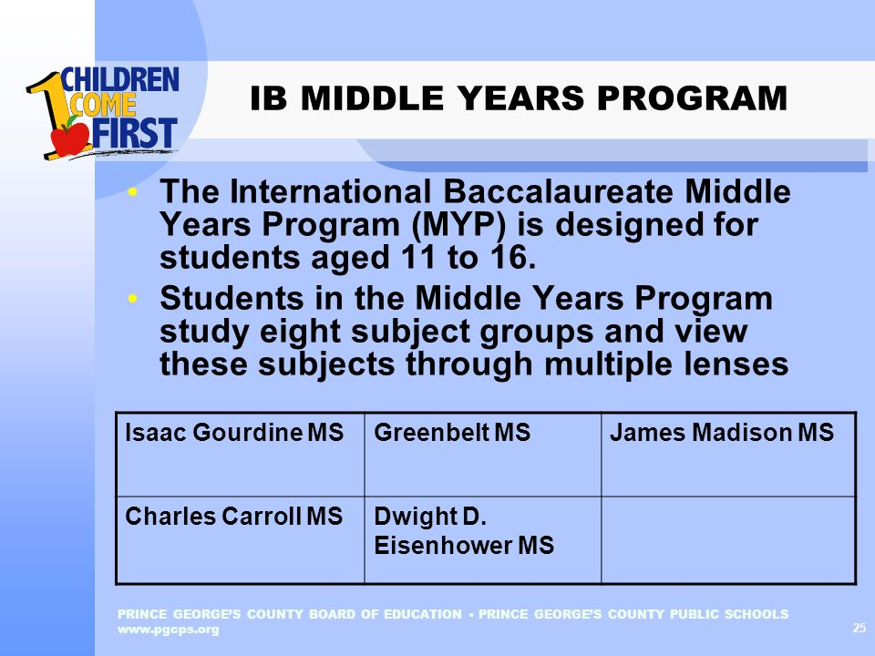 IB MIDDLE YEARS PROGRAM