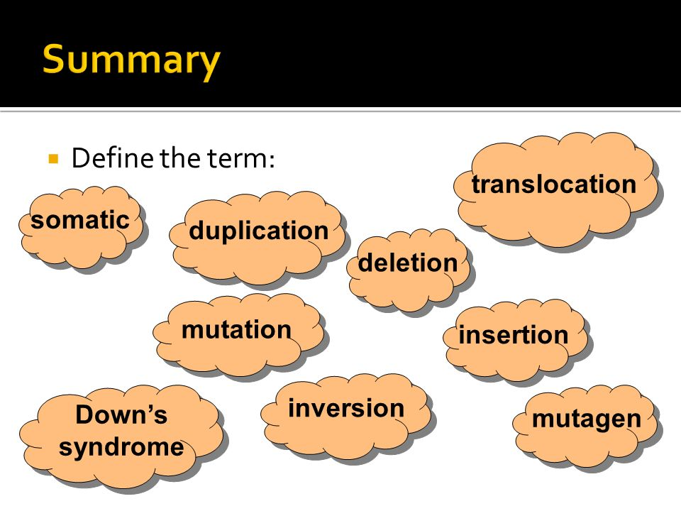 Summary Define the term: translocation somatic duplication deletion