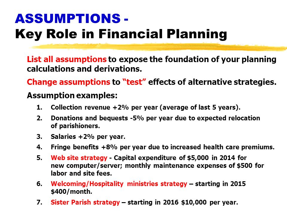ASSUMPTIONS - Key Role in Financial Planning