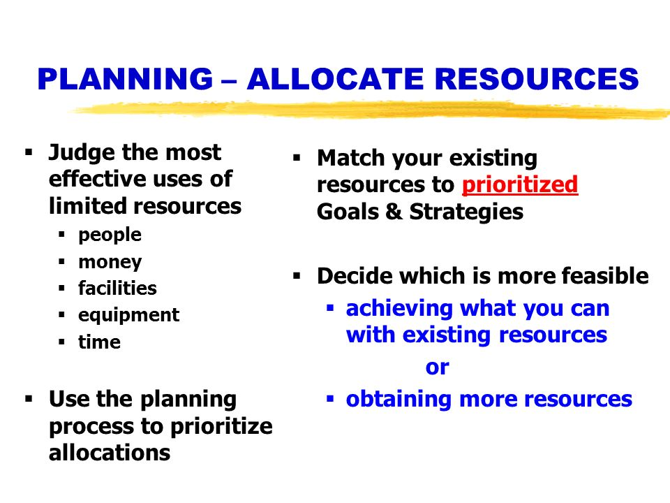 PLANNING – ALLOCATE RESOURCES